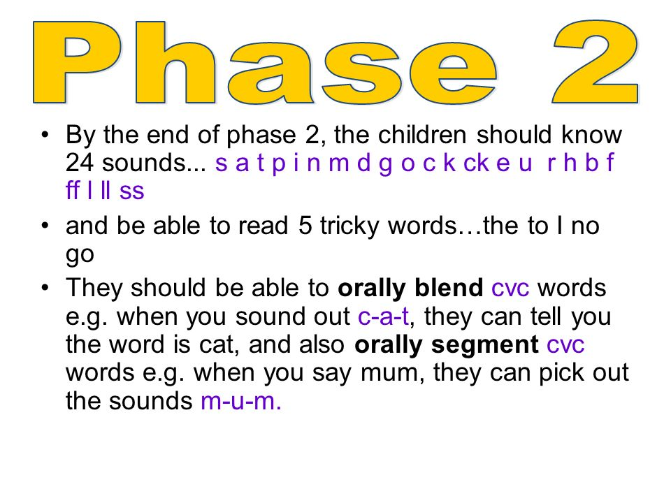 By the end of phase 2, the children should know 24 sounds...
