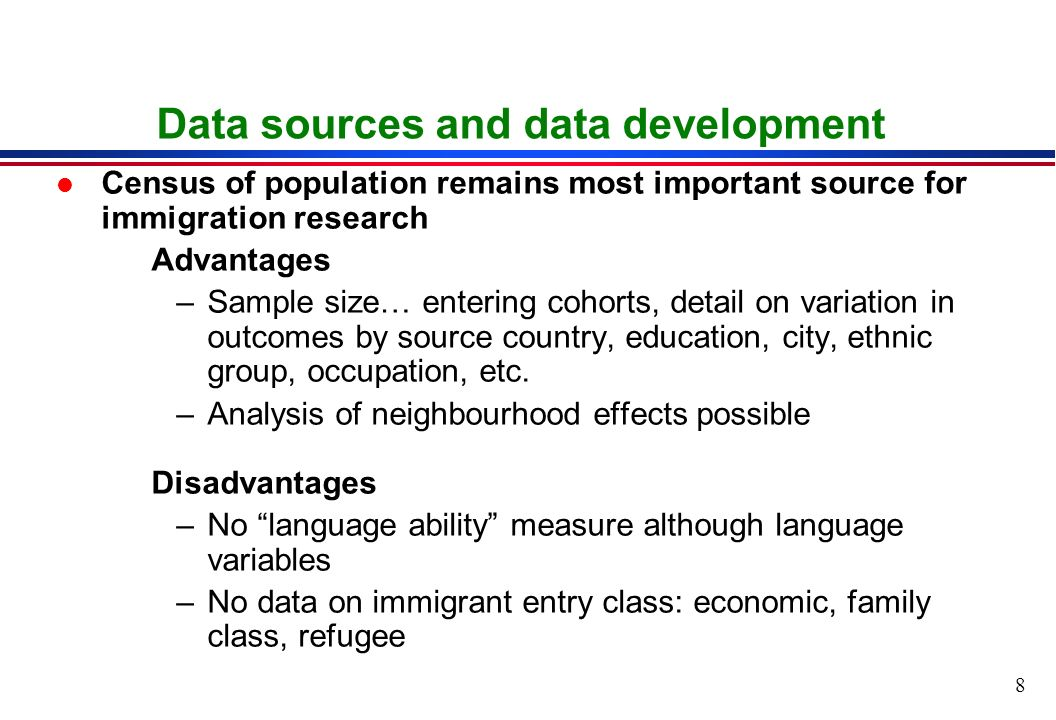 8 Data sources and data development l Census of population remains most important source for immigration research Advantages –Sample size… entering cohorts, detail on variation in outcomes by source country, education, city, ethnic group, occupation, etc.