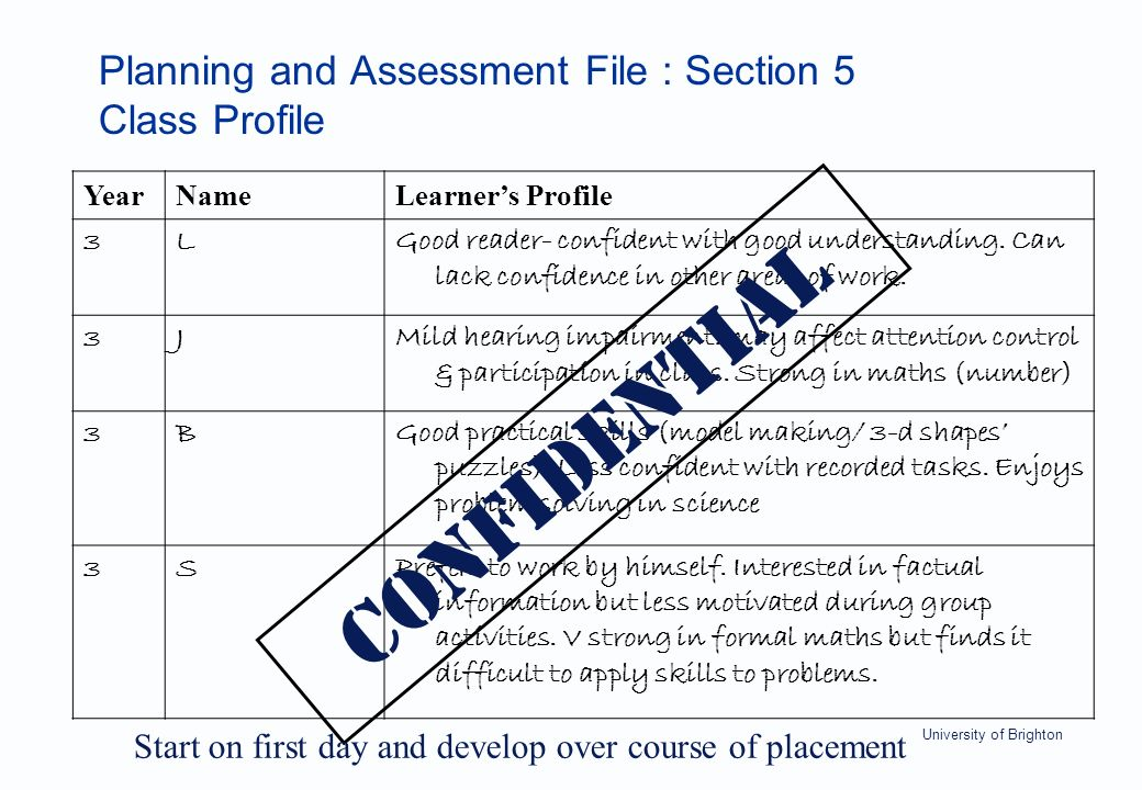 University of Brighton Planning and Assessment File : Section 5 Class Profile YearNameLearner's Profile 3LGood reader- confident with good understanding.