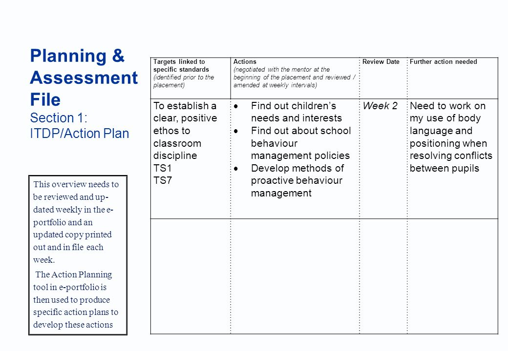 University of Brighton Planning & Assessment File Section 1: ITDP/Action Plan This overview needs to be reviewed and up- dated weekly in the e- portfolio and an updated copy printed out and in file each week.