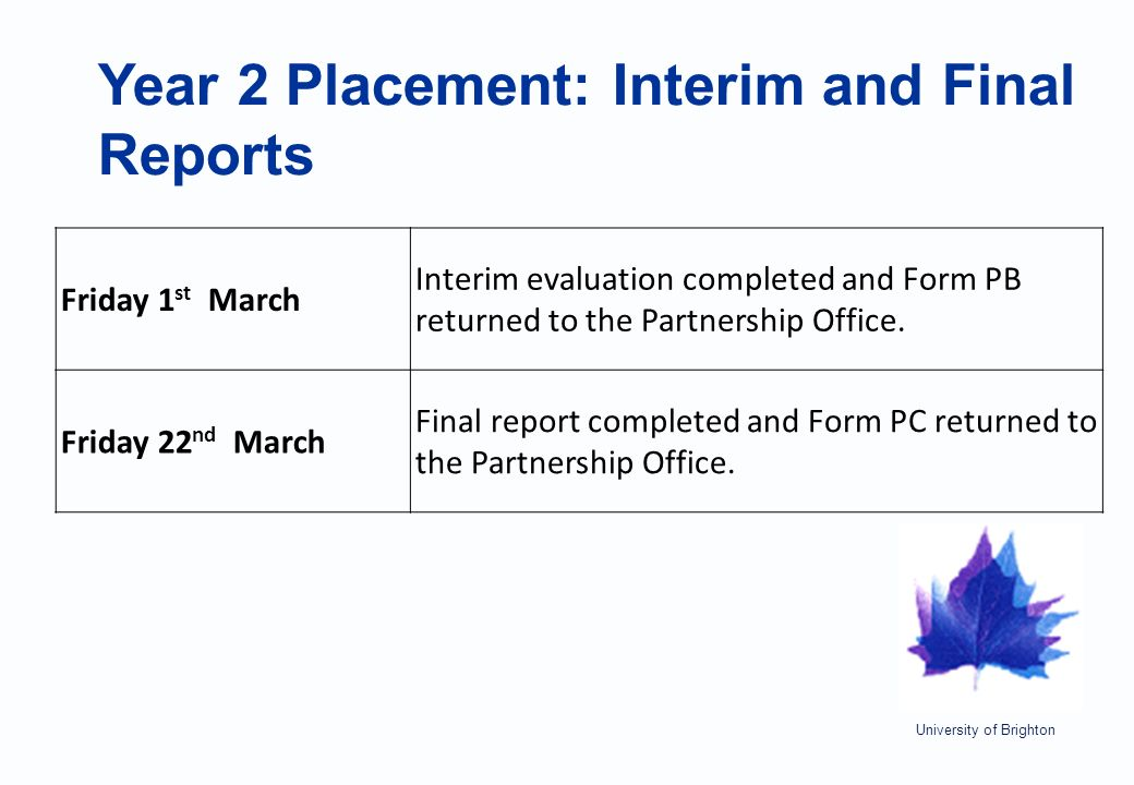 University of Brighton Year 2 Placement: Interim and Final Reports Friday 1 st March Interim evaluation completed and Form PB returned to the Partnership Office.