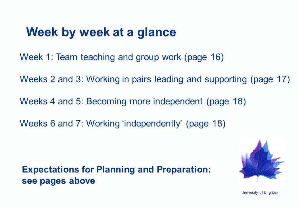 University of Brighton Week by week at a glance Week 1: Team teaching and group work (page 16) Weeks 2 and 3: Working in pairs leading and supporting (page 17) Weeks 4 and 5: Becoming more independent (page 18) Weeks 6 and 7: Working 'independently' (page 18) Expectations for Planning and Preparation: see pages above