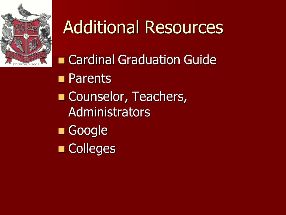 Additional Resources Cardinal Graduation Guide Cardinal Graduation Guide Parents Parents Counselor, Teachers, Administrators Counselor, Teachers, Administrators Google Google Colleges Colleges