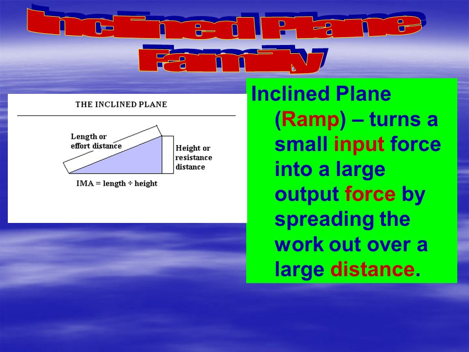 Inclined Plane (Ramp) – turns a small input force into a large output force by spreading the work out over a large distance.