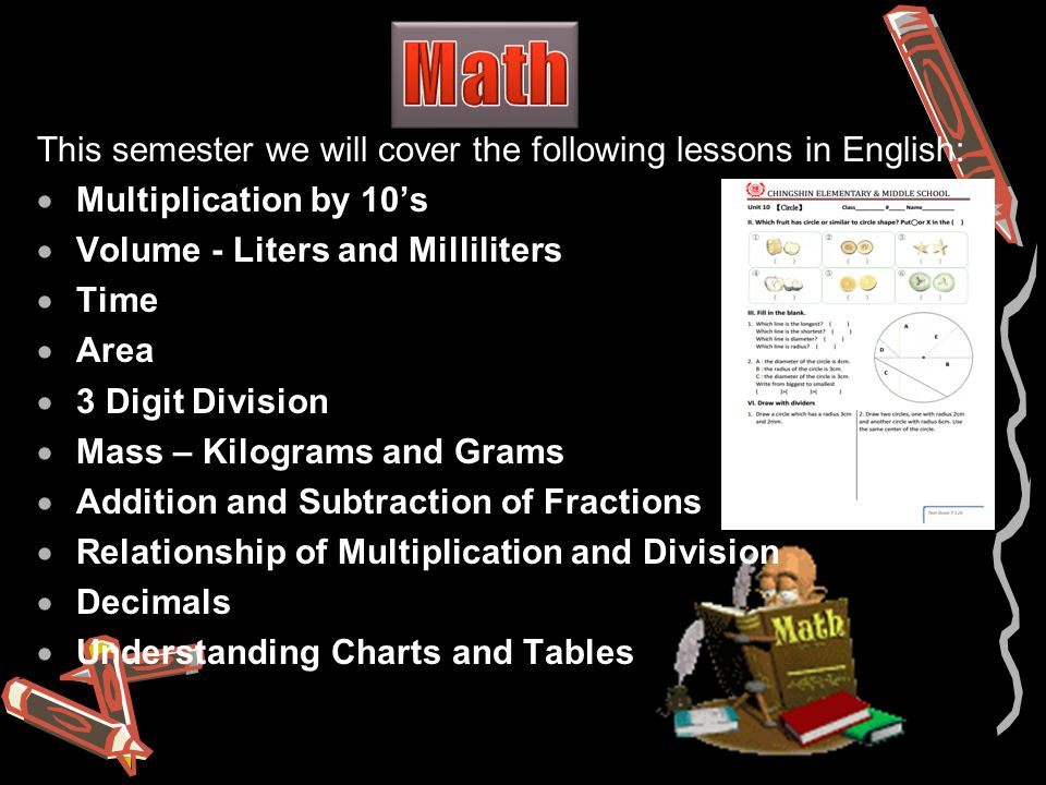 This semester we will cover the following lessons in English:  Multiplication by 10's  Volume - Liters and Milliliters  Time  Area  3 Digit Division  Mass – Kilograms and Grams  Addition and Subtraction of Fractions  Relationship of Multiplication and Division  Decimals  Understanding Charts and Tables