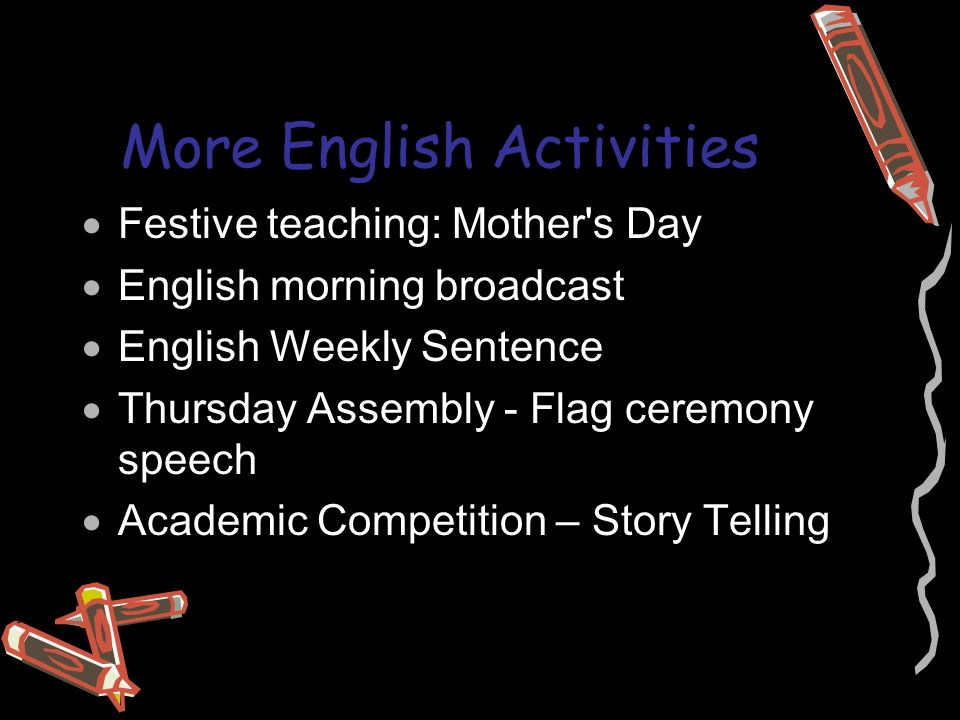 More English Activities  Festive teaching: Mother s Day  English morning broadcast  English Weekly Sentence  Thursday Assembly - Flag ceremony speech  Academic Competition – Story Telling