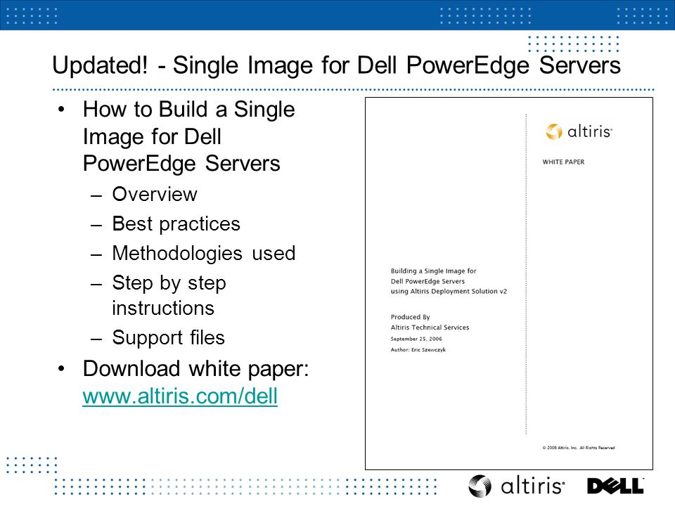 Altiris Deployment Solution for Dell Servers v2 0 SP1  - ppt