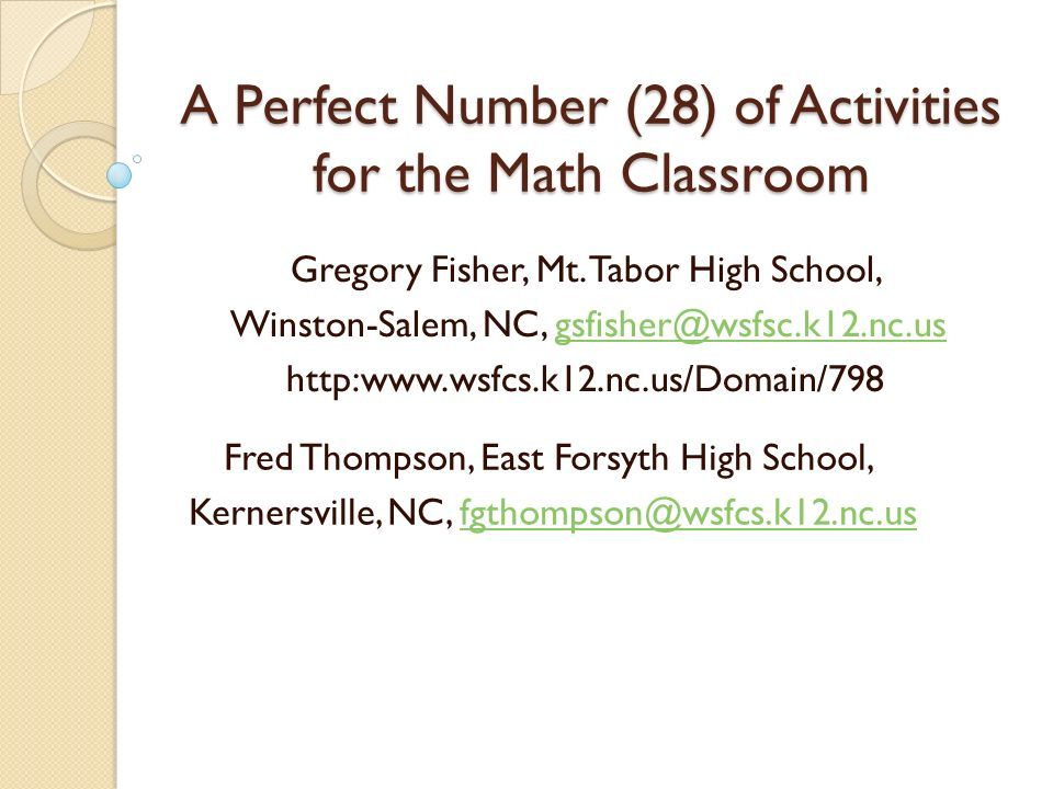 A Perfect Number (28) of Activities for the Math Classroom Gregory ...
