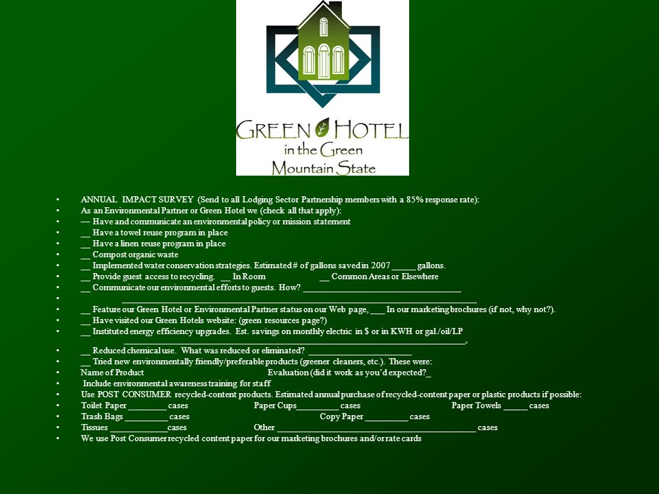 Vermont's Green Hotels in the Green Mountain State Program