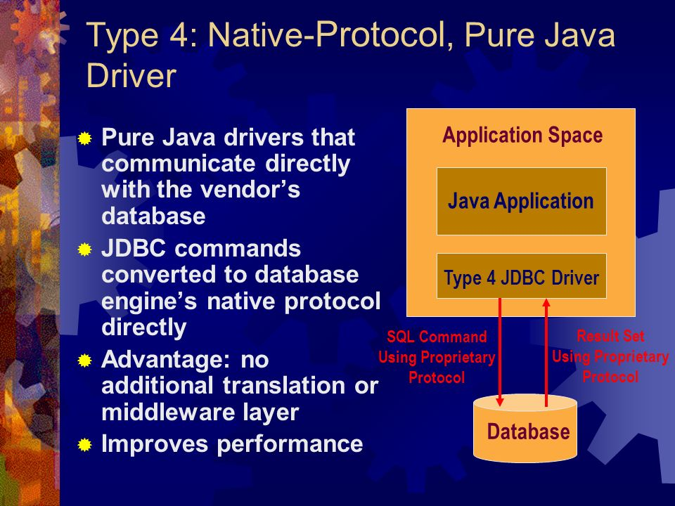 Type 4: Native- Protocol, Pure Java Driver  Pure Java drivers that communicate directly with the vendor's database  JDBC commands converted to database engine's native protocol directly  Advantage: no additional translation or middleware layer  Improves performance Application Space Java Application Type 4 JDBC Driver Database SQL Command Using Proprietary Protocol Result Set Using Proprietary Protocol