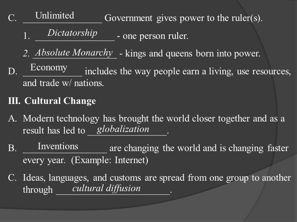 C.________________ Government gives power to the ruler(s).
