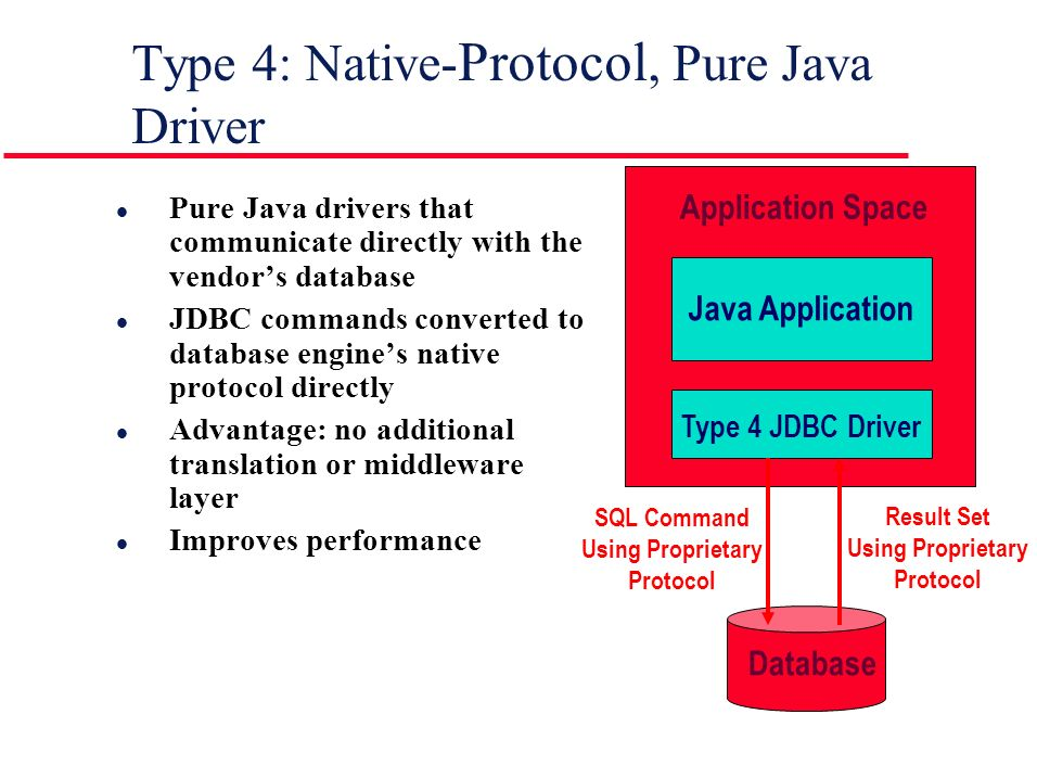 Type 4: Native- Protocol, Pure Java Driver l Pure Java drivers that communicate directly with the vendor's database l JDBC commands converted to database engine's native protocol directly l Advantage: no additional translation or middleware layer l Improves performance Application Space Java Application Type 4 JDBC Driver Database SQL Command Using Proprietary Protocol Result Set Using Proprietary Protocol