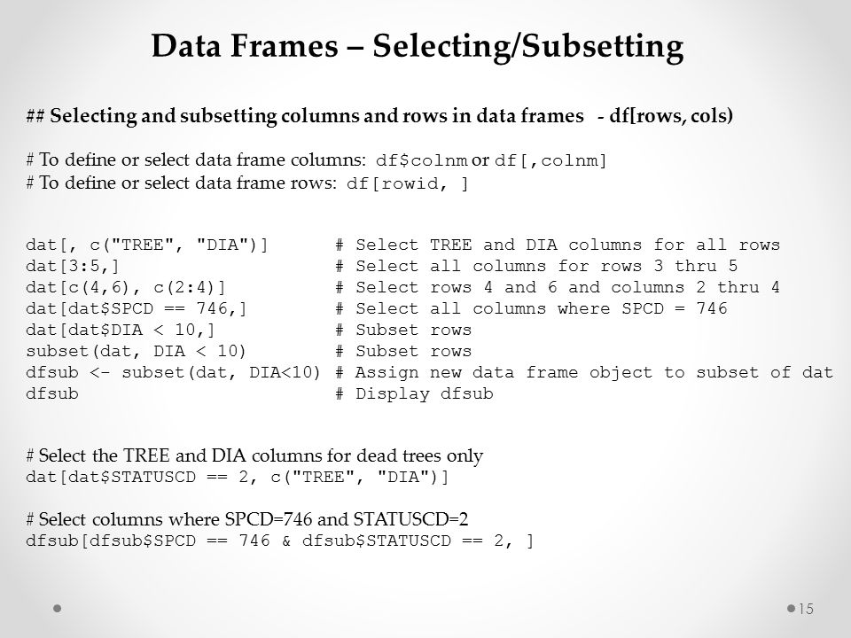 1 Basics2. Outline Review of data structures Data frames Review of ...