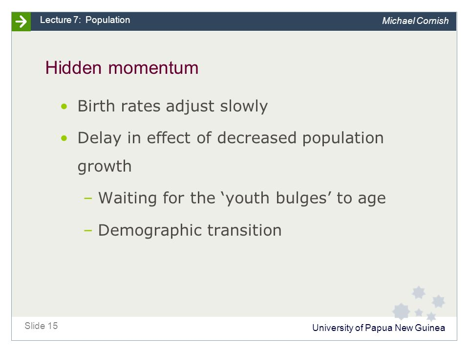 University of Papua New Guinea Slide 15 Lecture 7: Population Michael Cornish Hidden momentum Birth rates adjust slowly Delay in effect of decreased population growth –Waiting for the 'youth bulges' to age –Demographic transition