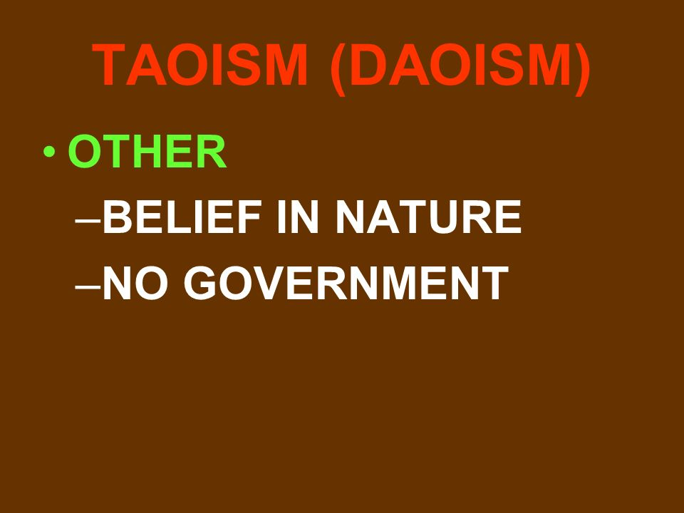 TAOISM (DAOISM) OTHER –BELIEF IN NATURE –NO GOVERNMENT