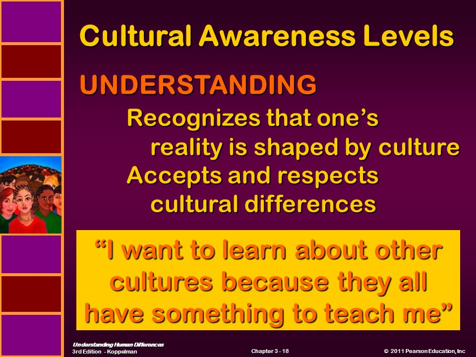 Understanding Human Differences 3rd Edition - Koppelman © 2011 Pearson Education, Inc © 2011 Pearson Education, Inc Chapter Cultural Awareness Levels UNDERSTANDING Recognizes that one's reality is shaped by culture reality is shaped by culture Accepts and respects cultural differences cultural differences I want to learn about other cultures because they all have something to teach me