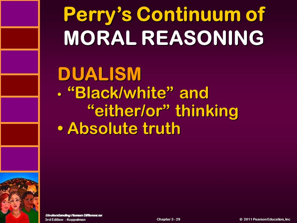 Understanding Human Differences 3rd Edition - Koppelman © 2011 Pearson Education, Inc © 2011 Pearson Education, Inc Chapter Perry's Continuum of MORAL REASONING DUALISM Black/white and either/or thinking Black/white and either/or thinking Absolute truth Absolute truth