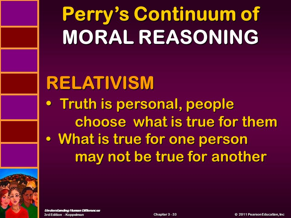 Understanding Human Differences 3rd Edition - Koppelman © 2011 Pearson Education, Inc © 2011 Pearson Education, Inc Chapter Perry's Continuum of MORAL REASONING RELATIVISM Truth is personal, people choose what is true for them Truth is personal, people choose what is true for them What is true for one person may not be true for another What is true for one person may not be true for another