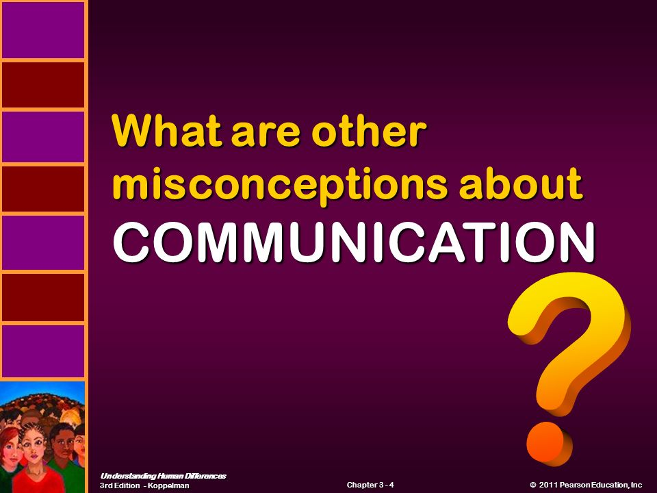 Understanding Human Differences 3rd Edition - Koppelman © 2011 Pearson Education, Inc © 2011 Pearson Education, Inc Chapter What are other misconceptions about COMMUNICATION