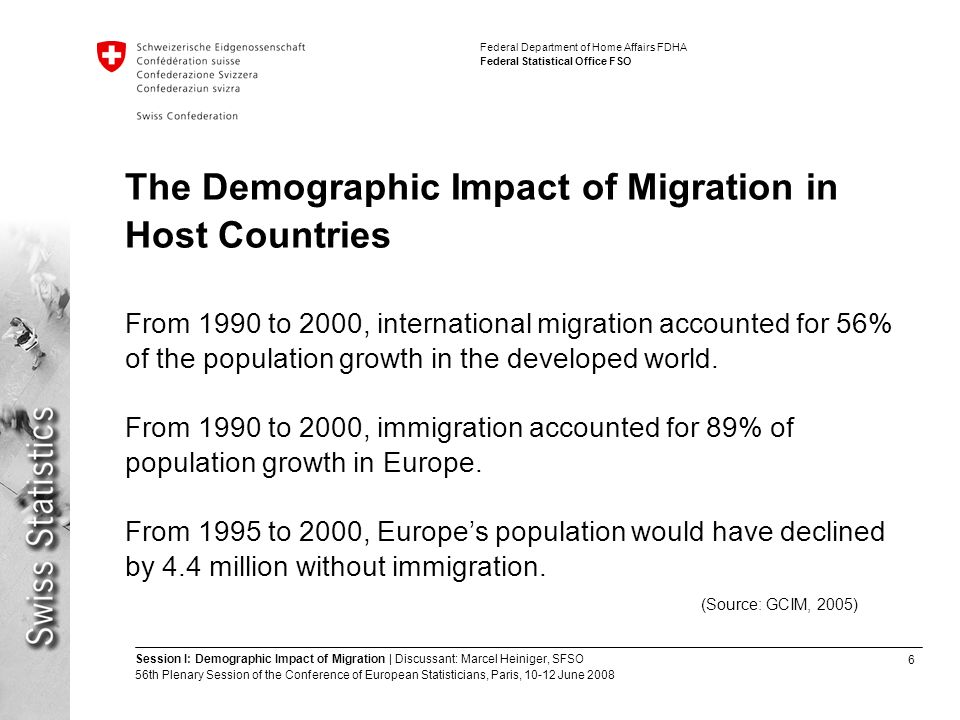 6 Session I: Demographic Impact of Migration | Discussant: Marcel Heiniger, SFSO 56th Plenary Session of the Conference of European Statisticians, Paris, June 2008 Federal Department of Home Affairs FDHA Federal Statistical Office FSO The Demographic Impact of Migration in Host Countries From 1990 to 2000, international migration accounted for 56% of the population growth in the developed world.