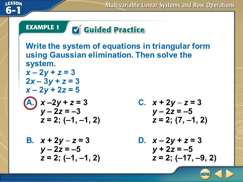 Vocabulary Multivariable Linear System Row Echelon Form Gaussian