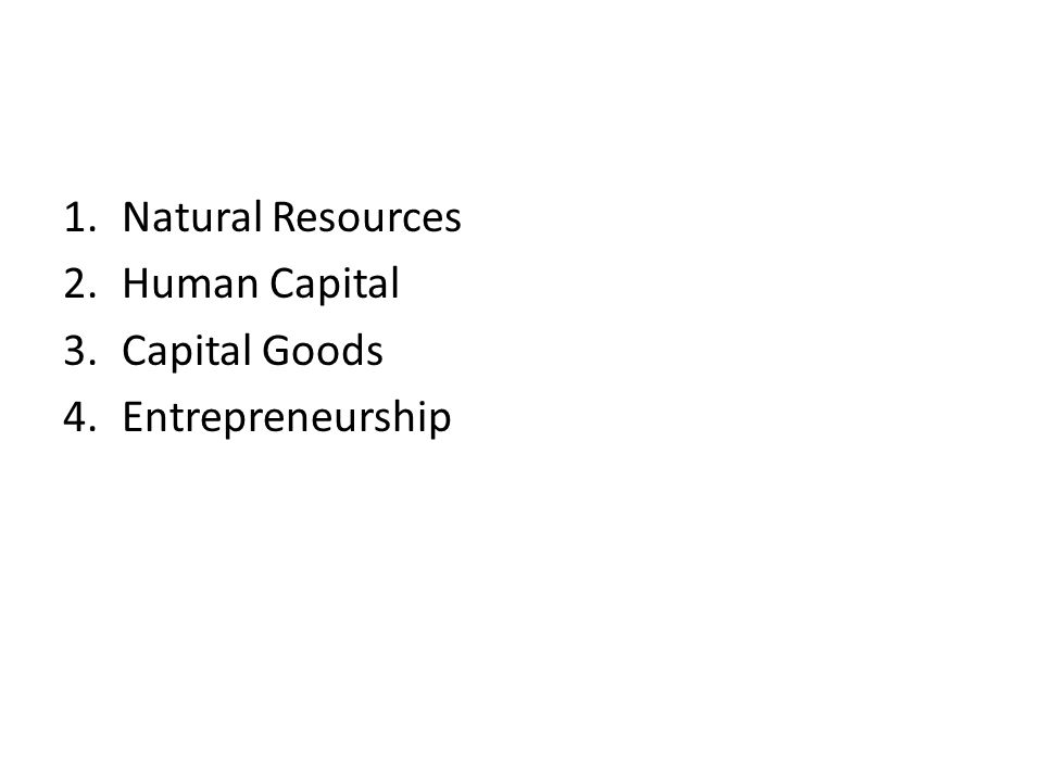 1.Natural Resources 2.Human Capital 3.Capital Goods 4.Entrepreneurship