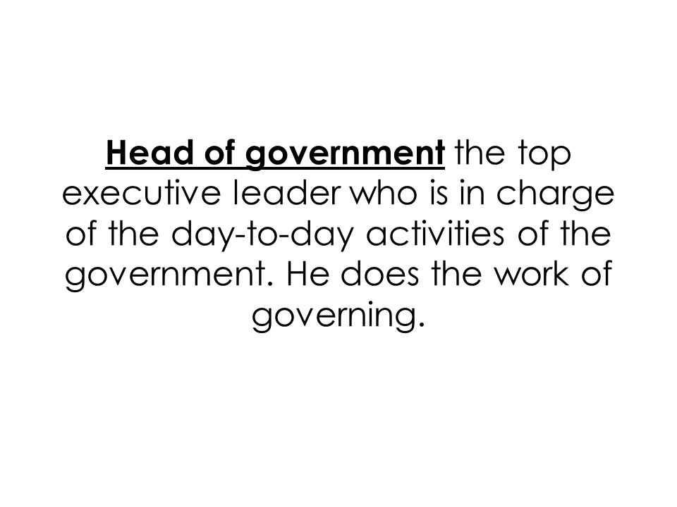 Head of government the top executive leader who is in charge of the day-to-day activities of the government.