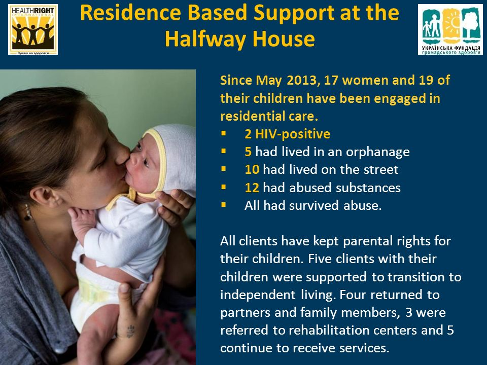 Since May 2013, 17 women and 19 of their children have been engaged in residential care.