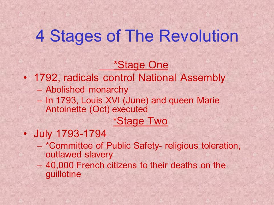 4 Stages of The Revolution *Stage One 1792, radicals control National Assembly –Abolished monarchy –In 1793, Louis XVI (June) and queen Marie Antoinette (Oct) executed * Stage Two July –*Committee of Public Safety- religious toleration, outlawed slavery –40,000 French citizens to their deaths on the guillotine