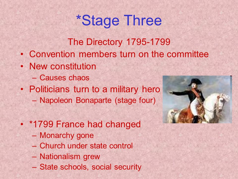 *Stage Three The Directory Convention members turn on the committee New constitution –Causes chaos Politicians turn to a military hero –Napoleon Bonaparte (stage four) *1799 France had changed –Monarchy gone –Church under state control –Nationalism grew –State schools, social security