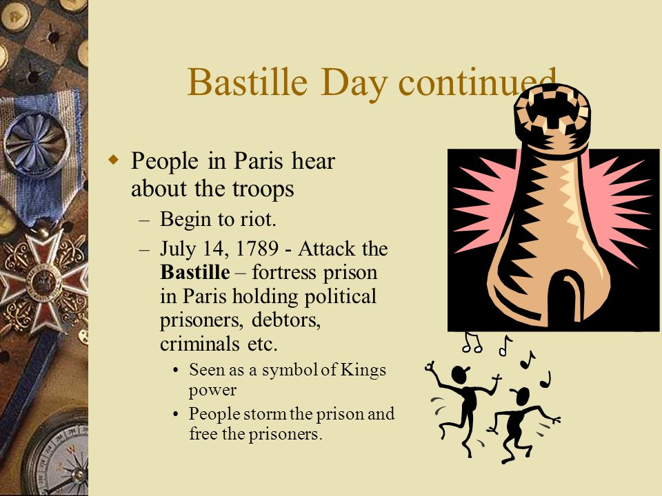 Bastille Day continued  People in Paris hear about the troops – Begin to riot.