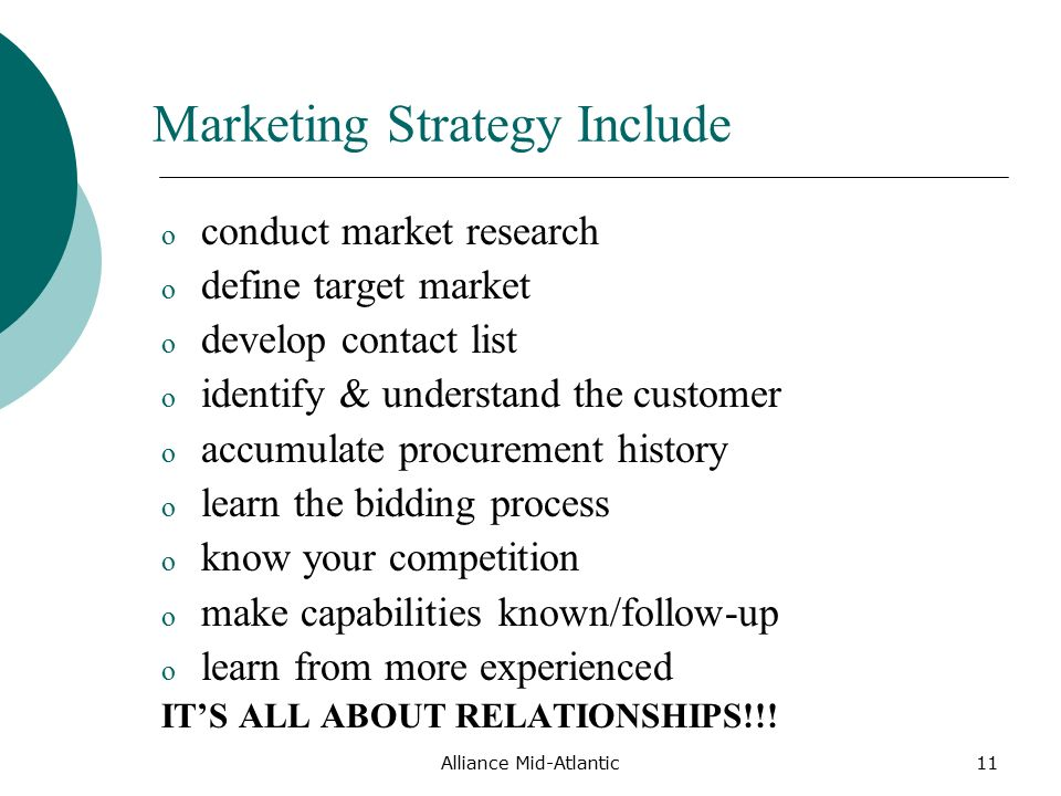 Alliance Mid-Atlantic11 Marketing Strategy Include o conduct market research o define target market o develop contact list o identify & understand the customer o accumulate procurement history o learn the bidding process o know your competition o make capabilities known/follow-up o learn from more experienced IT'S ALL ABOUT RELATIONSHIPS!!!
