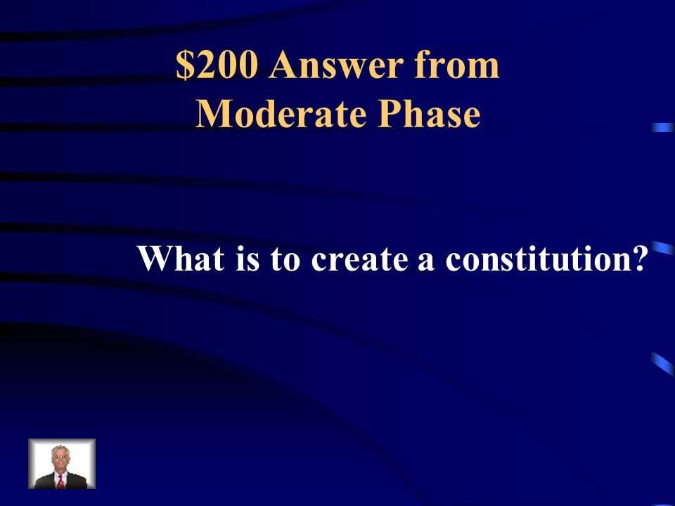 $200 Question from Moderate Phase The 3 rd Estate left the Estates General, created the National Assembly, and took this vowed to do this in the Tennis Court Oath.
