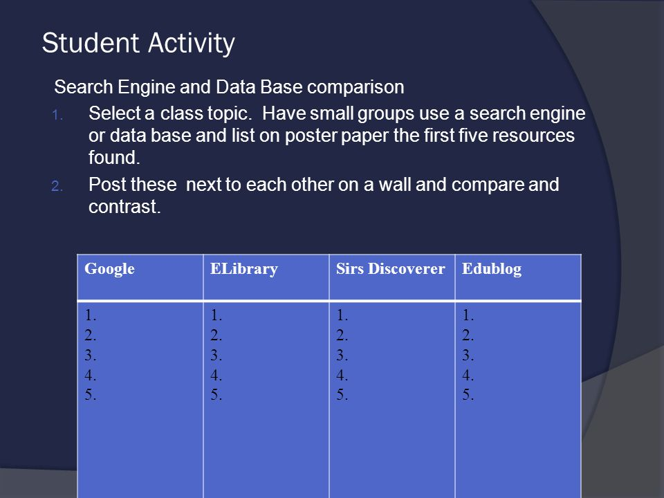 Student activity search engine and data base comparison 1 select a student activity search engine and data base comparison 1 ccuart Gallery