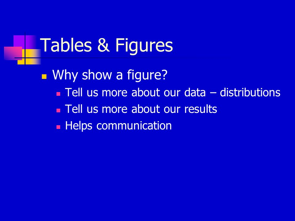 Tables & Figures Why show a figure.