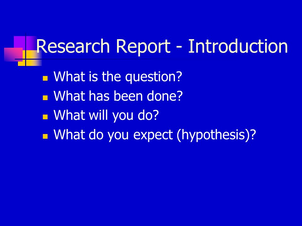 Research Report - Introduction What is the question.