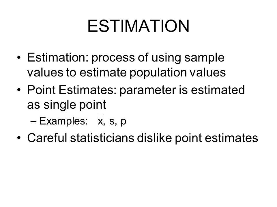 ESTIMATION Estimation process of using sample values to estimate