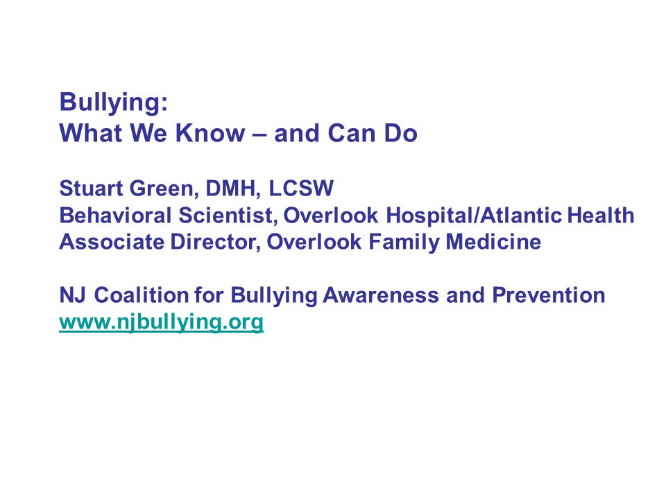 Bullying What We Know And Can Do Stuart Green Dmh Lcsw
