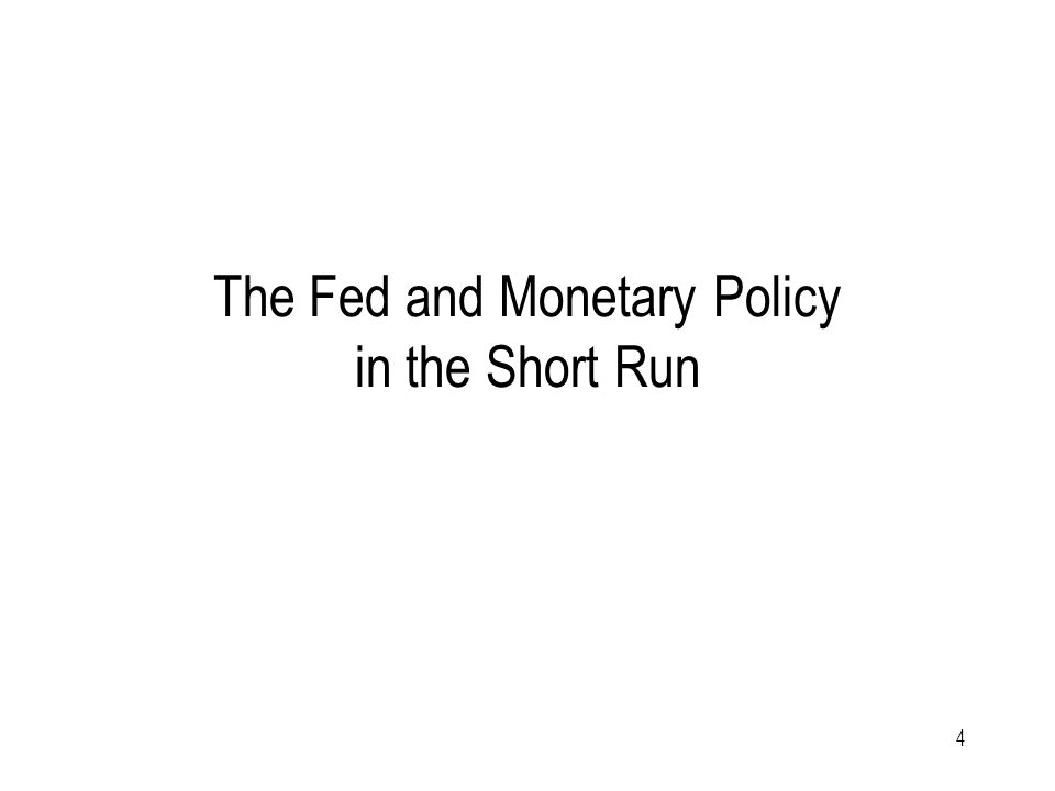4 The Fed and Monetary Policy in the Short Run
