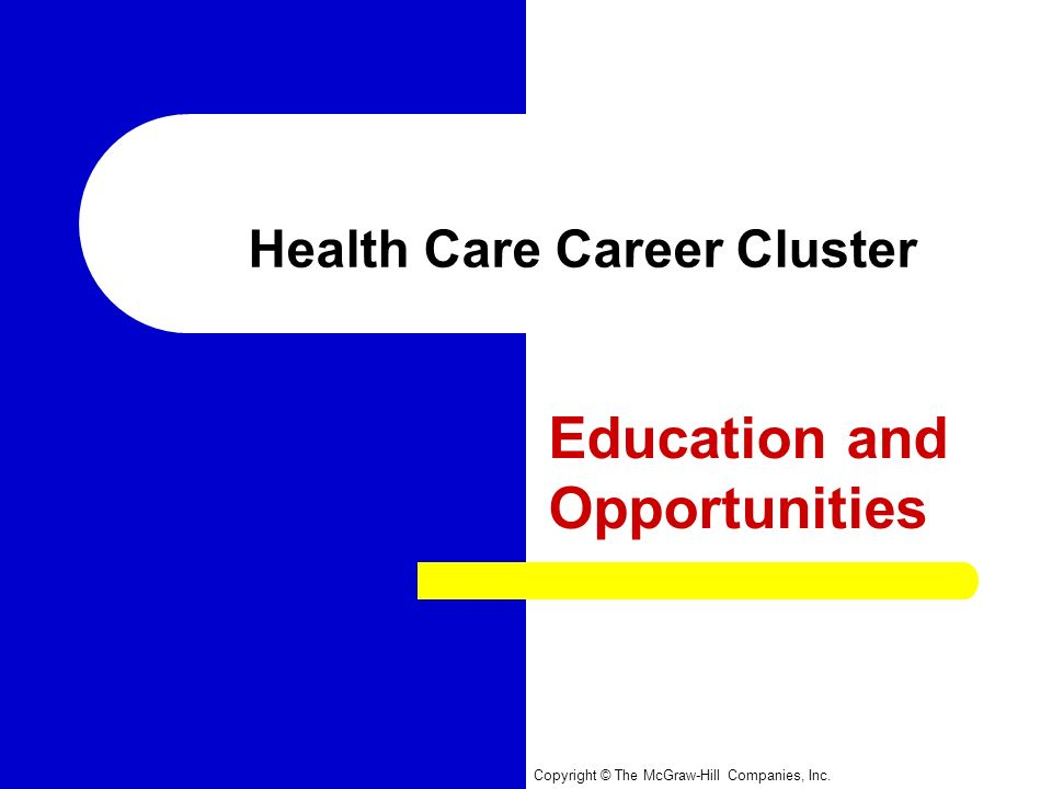 Copyright © The McGraw-Hill Companies, Inc. Health Care Career Cluster Education and Opportunities