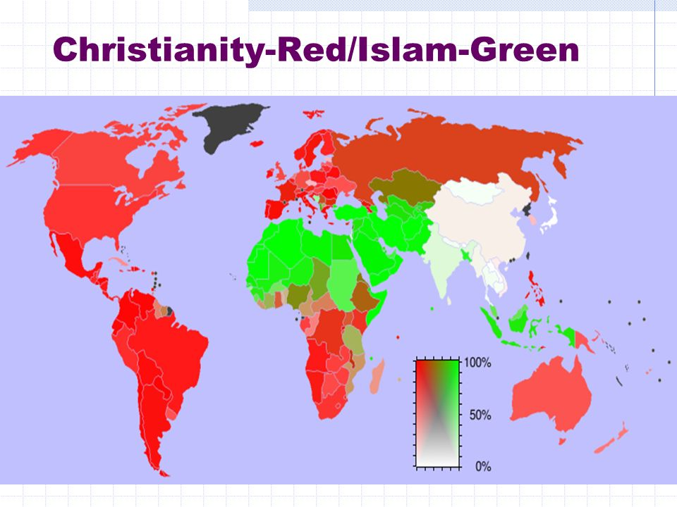 Christianity-Red/Islam-Green