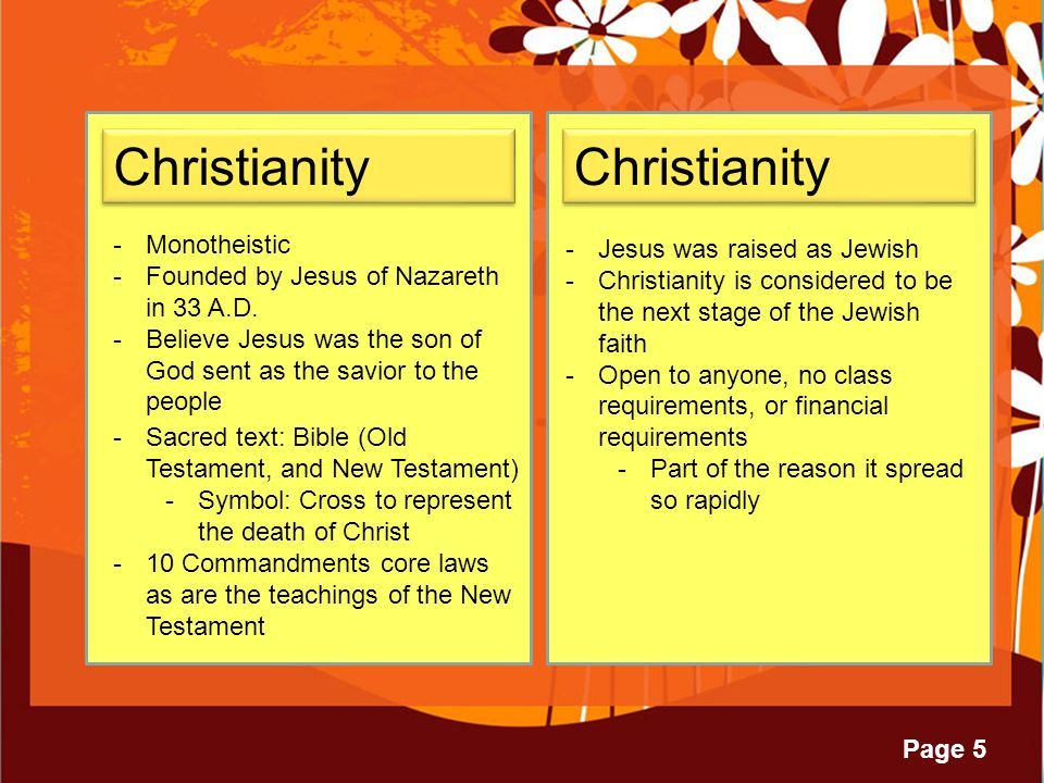 Page 5 Christianity -Monotheistic -Founded by Jesus of Nazareth in 33 A.D.