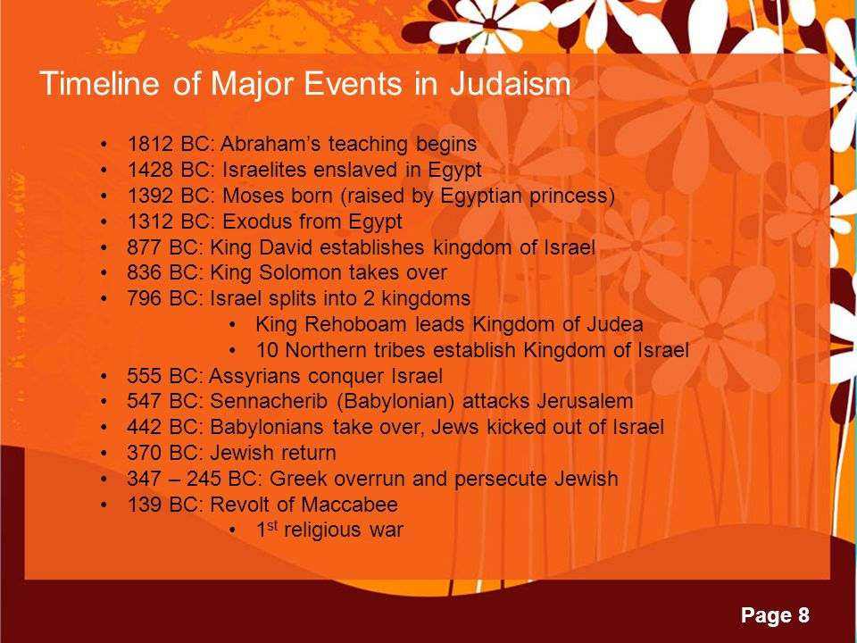 Page 8 Timeline of Major Events in Judaism 1812 BC: Abraham's teaching begins 1428 BC: Israelites enslaved in Egypt 1392 BC: Moses born (raised by Egyptian princess) 1312 BC: Exodus from Egypt 877 BC: King David establishes kingdom of Israel 836 BC: King Solomon takes over 796 BC: Israel splits into 2 kingdoms King Rehoboam leads Kingdom of Judea 10 Northern tribes establish Kingdom of Israel 555 BC: Assyrians conquer Israel 547 BC: Sennacherib (Babylonian) attacks Jerusalem 442 BC: Babylonians take over, Jews kicked out of Israel 370 BC: Jewish return 347 – 245 BC: Greek overrun and persecute Jewish 139 BC: Revolt of Maccabee 1 st religious war