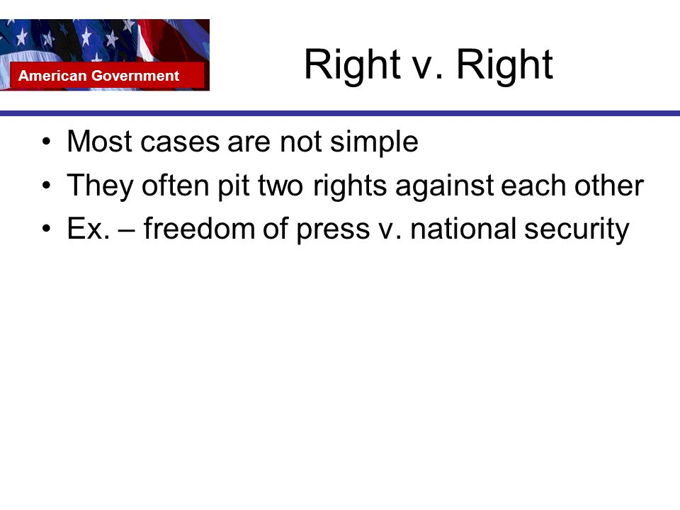 Right v. Right Most cases are not simple They often pit two rights against each other Ex.