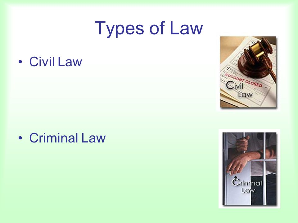 Types of Law Civil Law Criminal Law