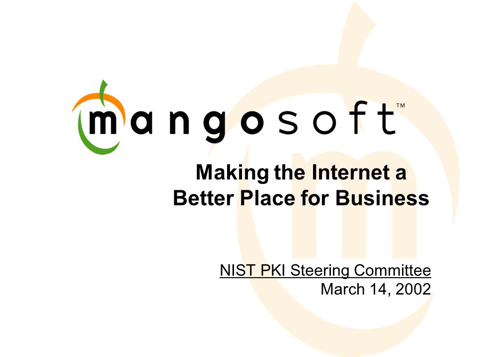 Making the Internet a Better Place for Business NIST PKI Steering Committee March 14, 2002
