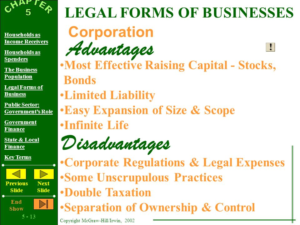 Copyright McGraw-Hill/Irwin, 2002 Households as Income Receivers Households as Spenders The Business Population Legal Forms of Business Public Sector: Government's Role Government Finance State & Local Finance Key Terms Previous Slide Next Slide End Show LEGAL FORMS OF BUSINESSES Partnership Easy to Organize More Management Skills Greater Resources Available Advantages Disadvantages Difficulty Making Decisions Possibly Limited Financial Resources Partnership Continuity Problems Unlimited Liability