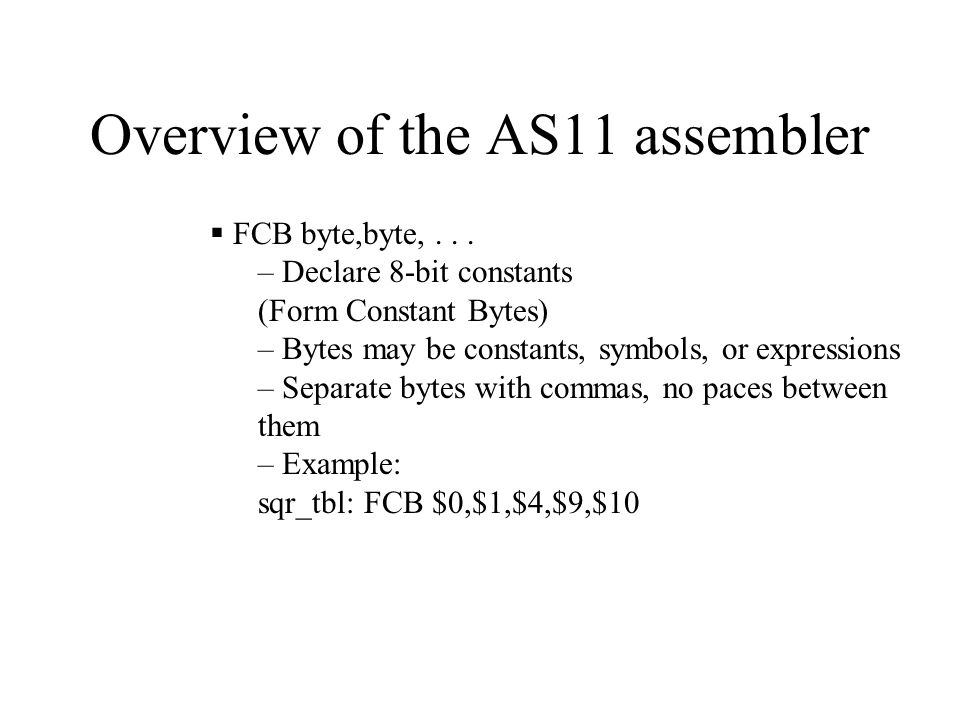 Assembly Language Programming for the MC68HC11  Assembly