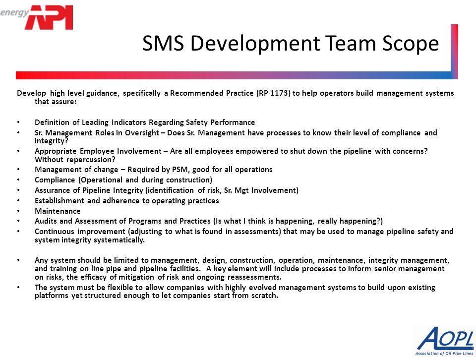 Safety Management Systems Presentation to PHMSA Advisory