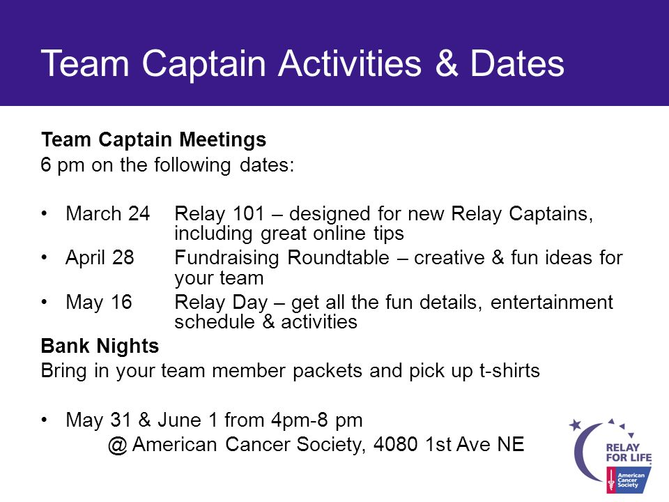 Acs relay for life incentive prizes